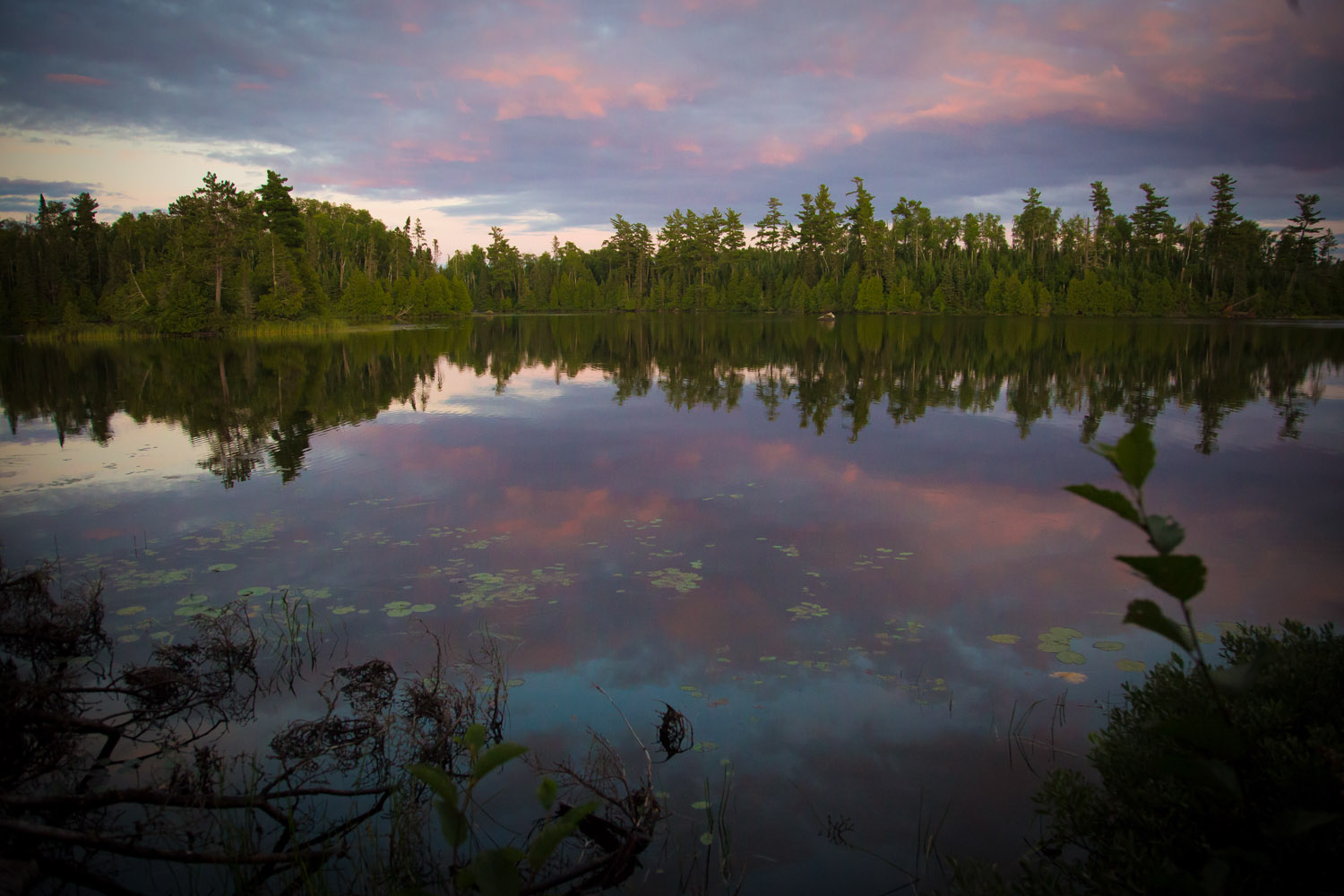 The sunset from our campsite on horseshoe lake that night was so worth the paddle in the rain!