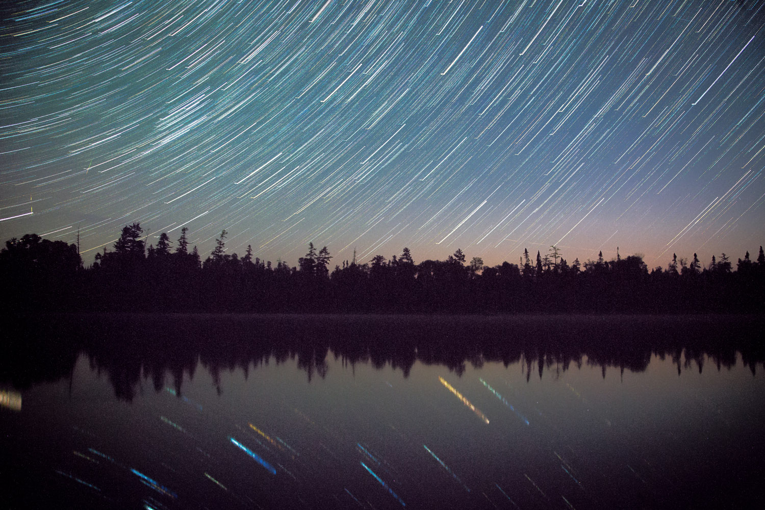 Star trails while the moon rose!