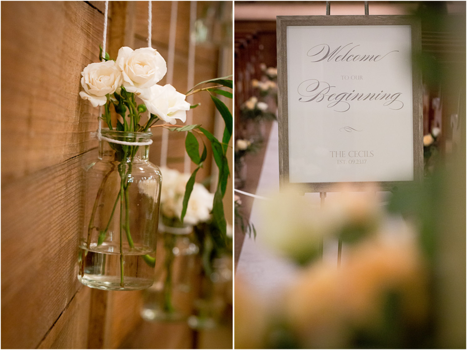 10-hope-community-church-wedding-ceremony-details-pink-roses-glass-vase-wood-wall-altar-welcome-to-our-new-beginning-sign-minneapolis-minnesota-mahonen-photography.jpg