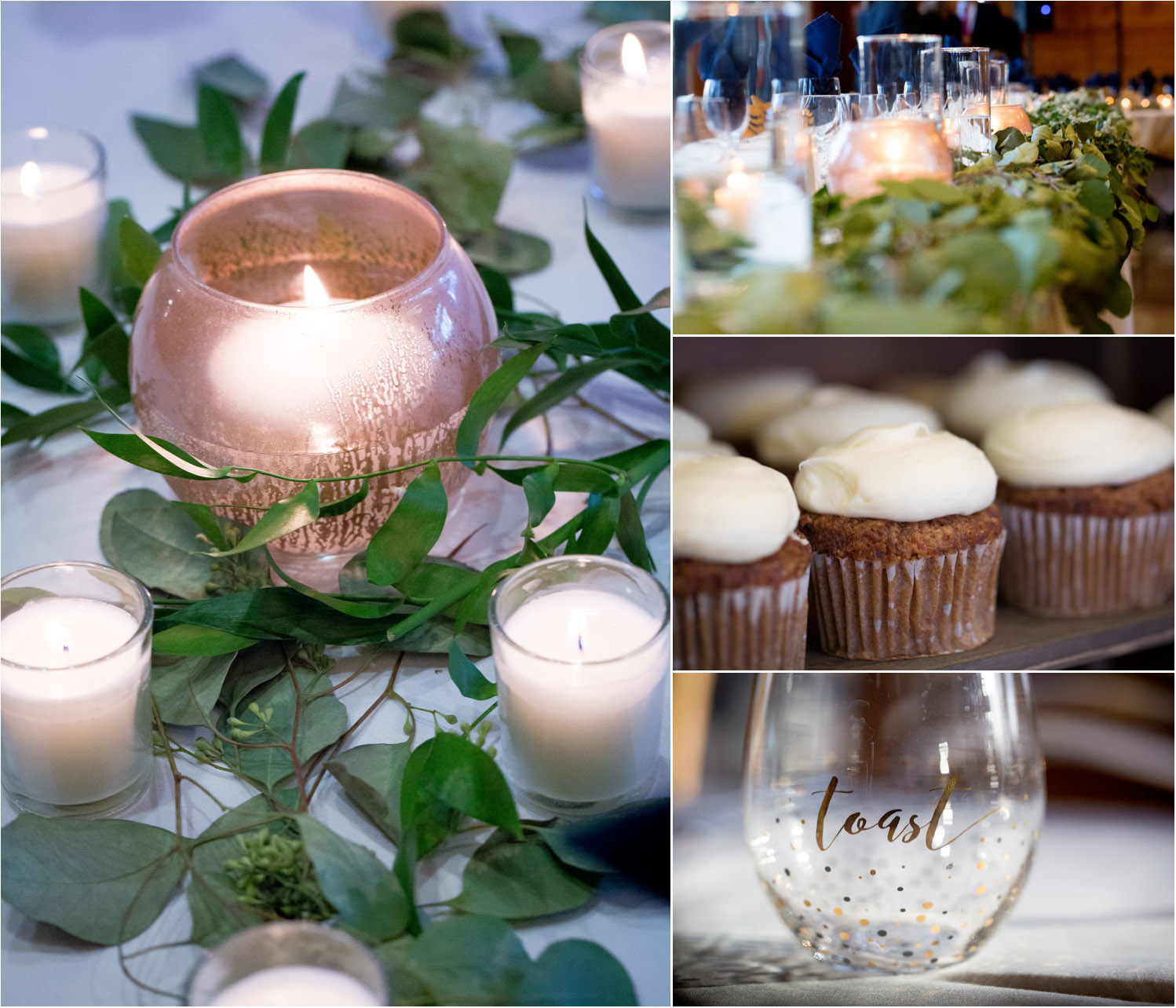 16-three-rivers-park-district-weddings-reception-details-silverwood-great-hall-candles-greenery-cupcakes-toasting-glass-calligraphy-mahonen-photography.jpg