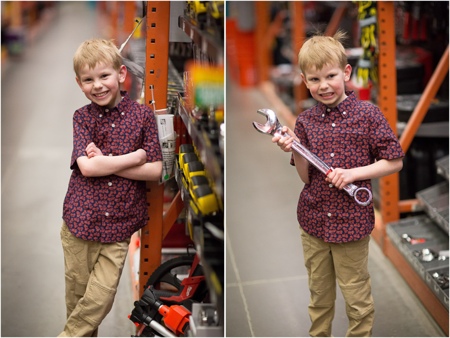 We had to take a few that showed a sense of place, since The Home Depot does reflect H's personality a lot!