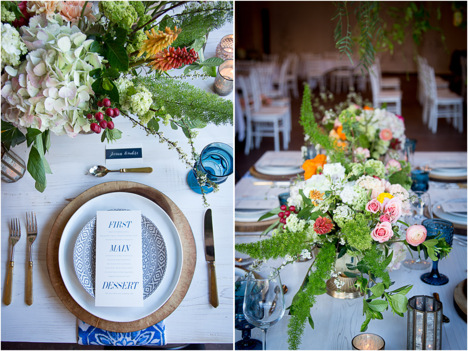 10-wedding-reception-head-table-wooden-charger-plates-gold-flatware-blue-type-menu-pink-hydrangea-mahonen-photography.jpg