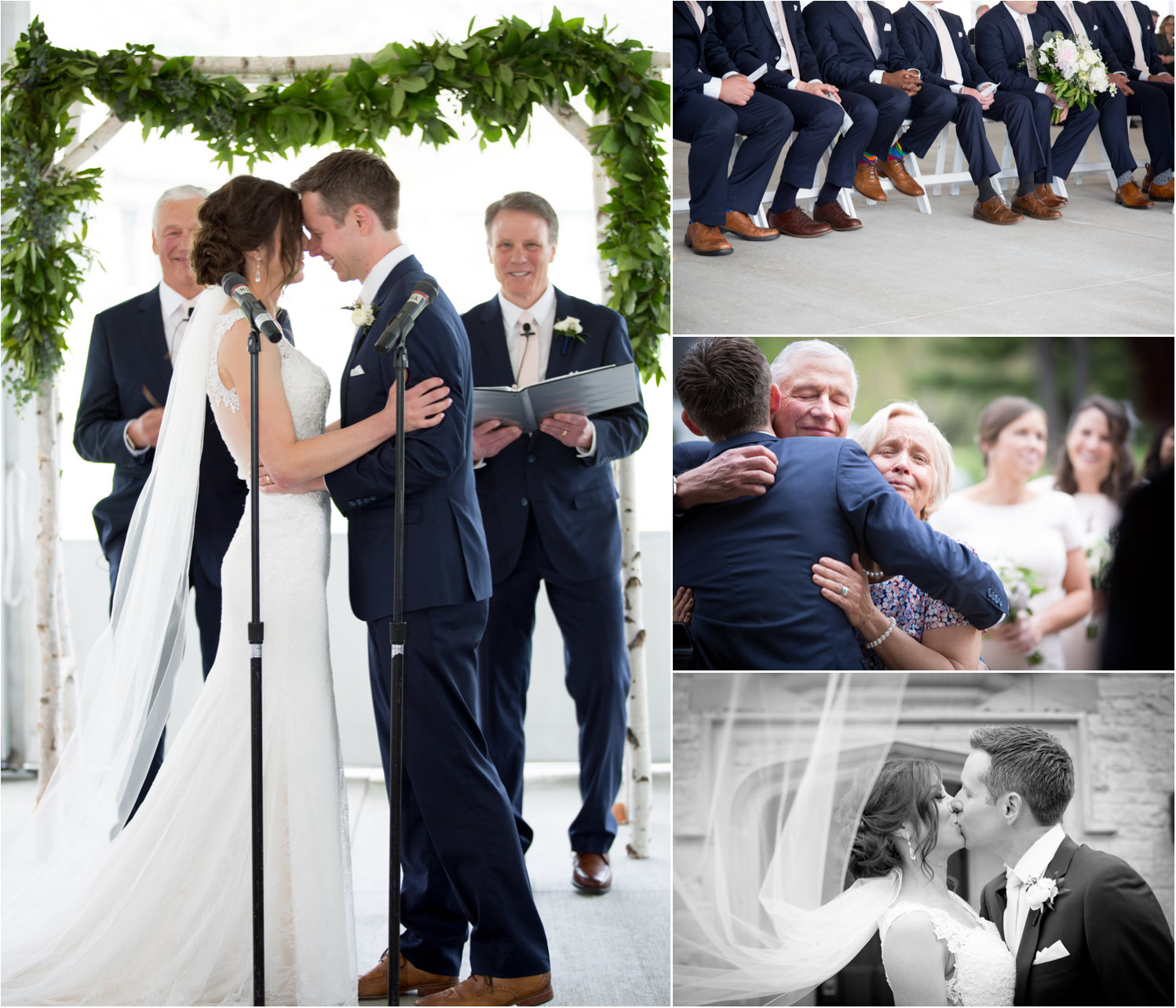 17-bishops-bay-country-club-wedding-ceremony-first-kiss-mother-father-of-the-groom-group-hug-mahonen-photography.jpg