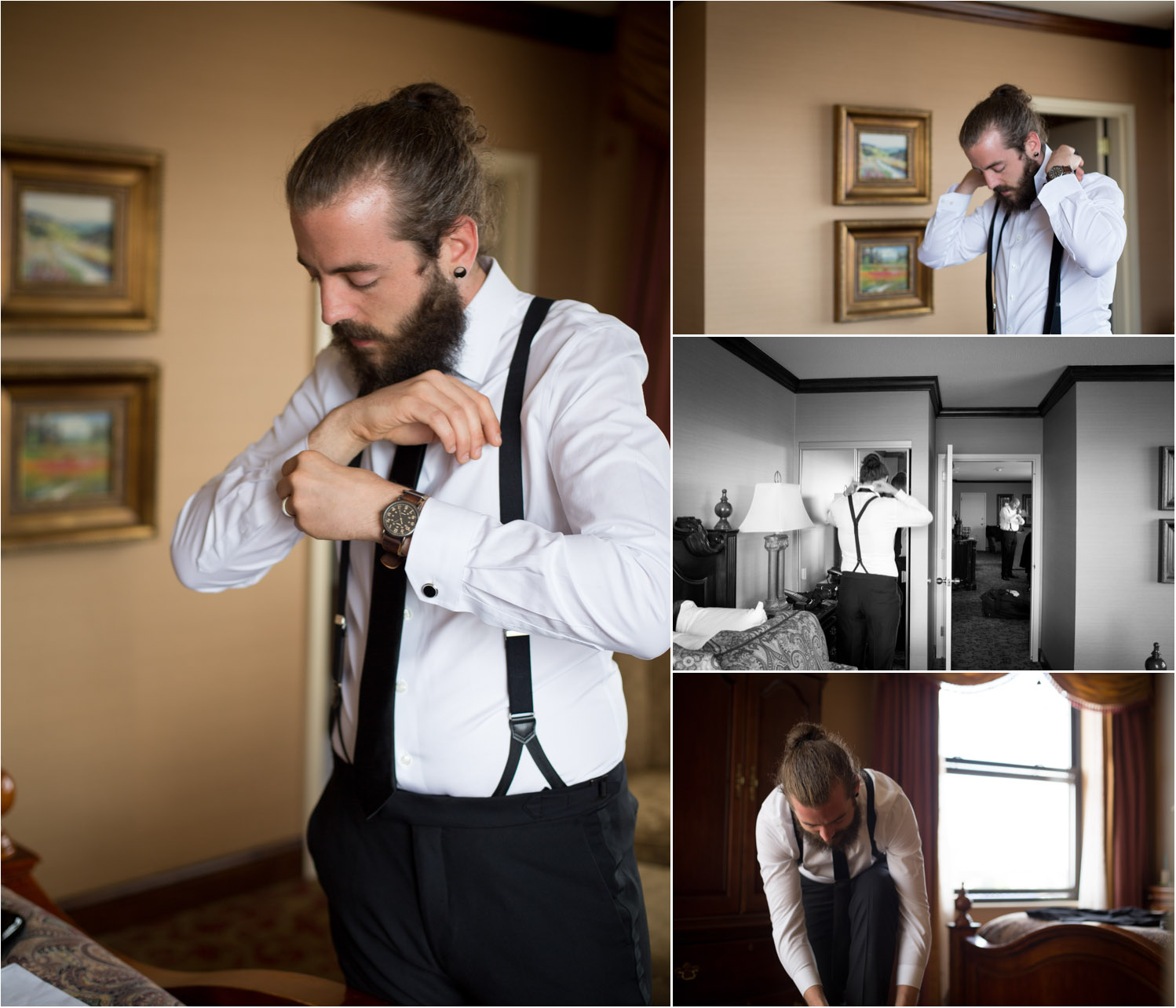 Pat got ready with his groomsmen at the Historic St. Paul Hotel across the street.