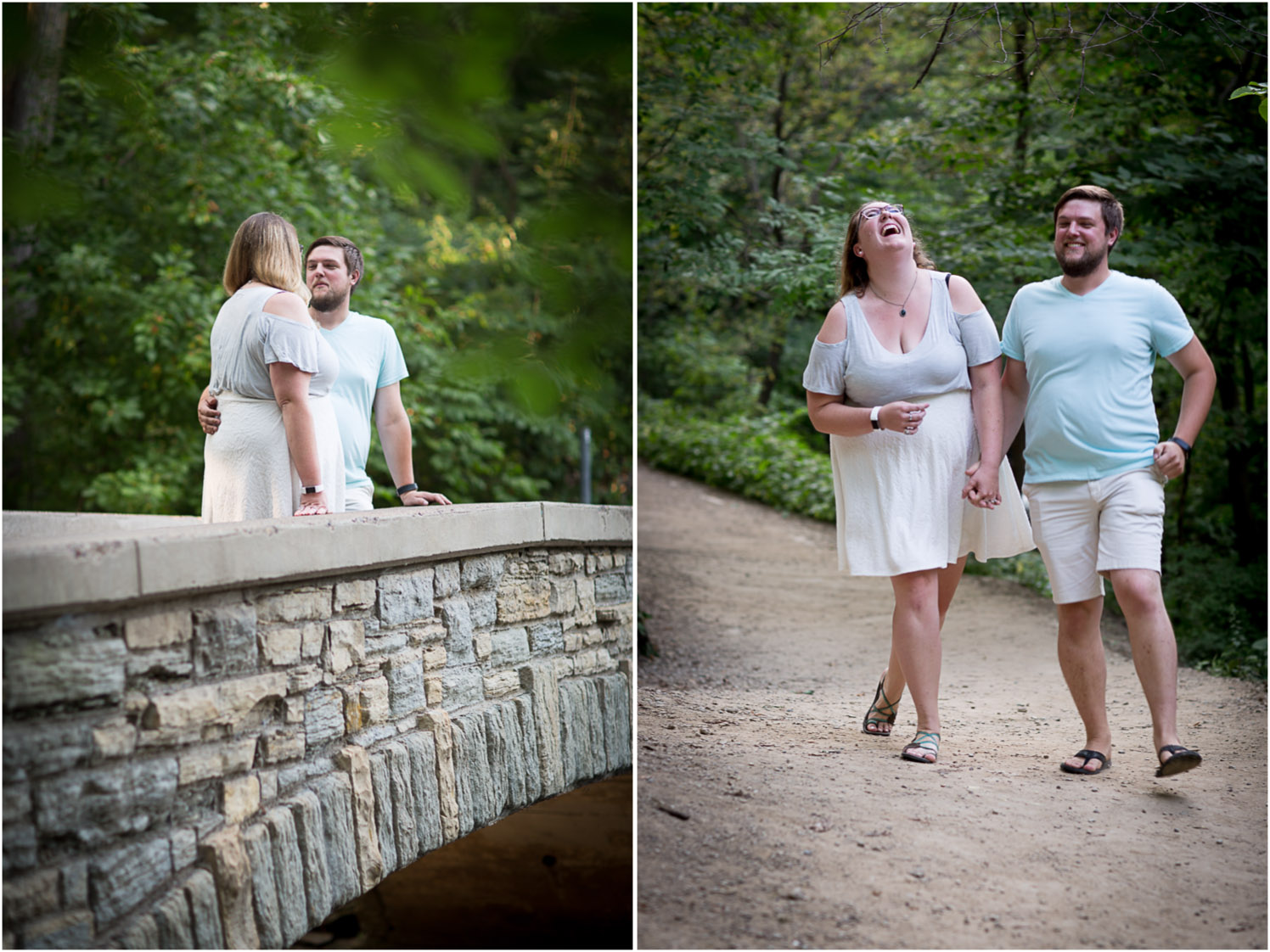 03-minnehaha-falls-minneapolis-wedding-photographer-summer-engagement-photos-unposed-laughter-candid-portrait-bridge-mahonen-photography.jpg