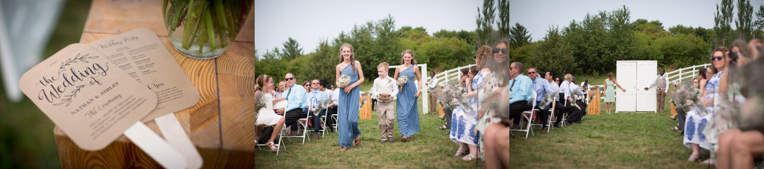 12-dellwood-barn-weddings-minnesota-wedding-photographer-outdoor-summer-ceremony-grassy-field-antique-doors-here-comes-the-bride-program-fans-mahonen-photography.jpg