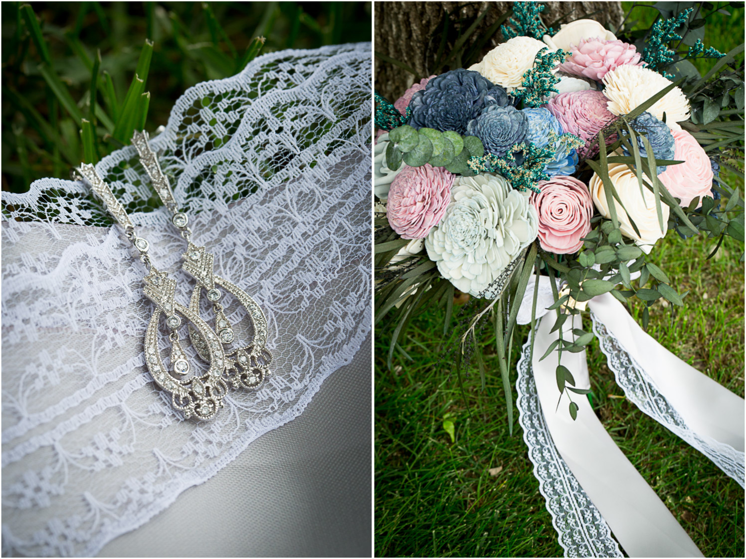 04-northern-minnesota-summer-lake-wedding-cabin-wedding-details-lace-ribbon-earrings-wooden-flowers-bridal-bouquet-pink-blue-mahonen-photography.jpg