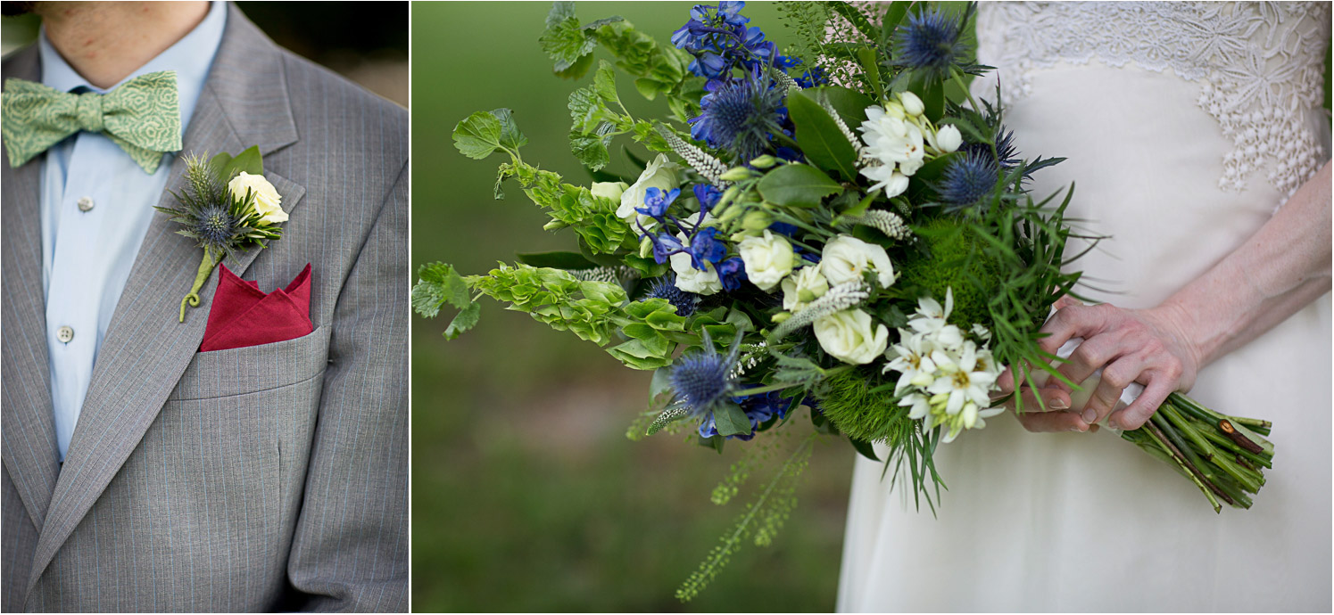 06-mount-zion-jewish-temple-wedding-day-bride-groom-details-green-bow-tie-bouquet-blue-nettles-white-roses-mahonen-photography.jpg