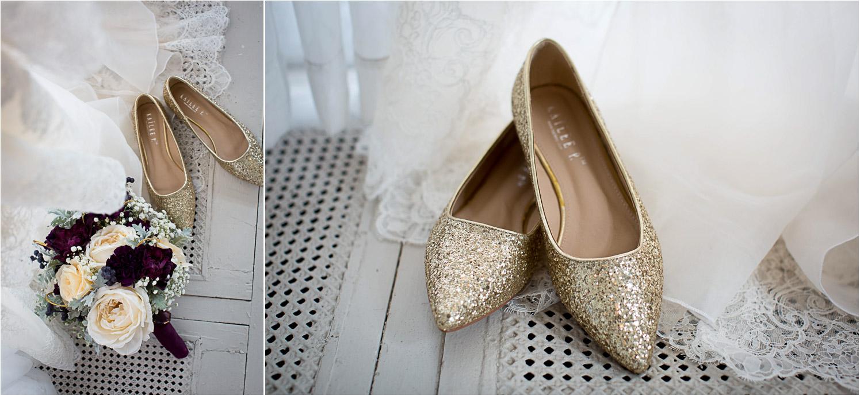 02-greysolon-ballroom-duluth-minnesota-summer-wedding-details-gold-glitter-shoes-bridal-bouquet-mahonen-photography.jpg