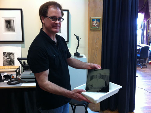 Ted Preuss making a Tintype
