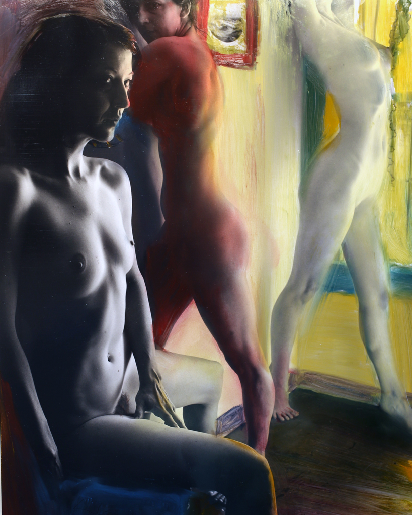 Three Nudes in Wyoming (Painted)