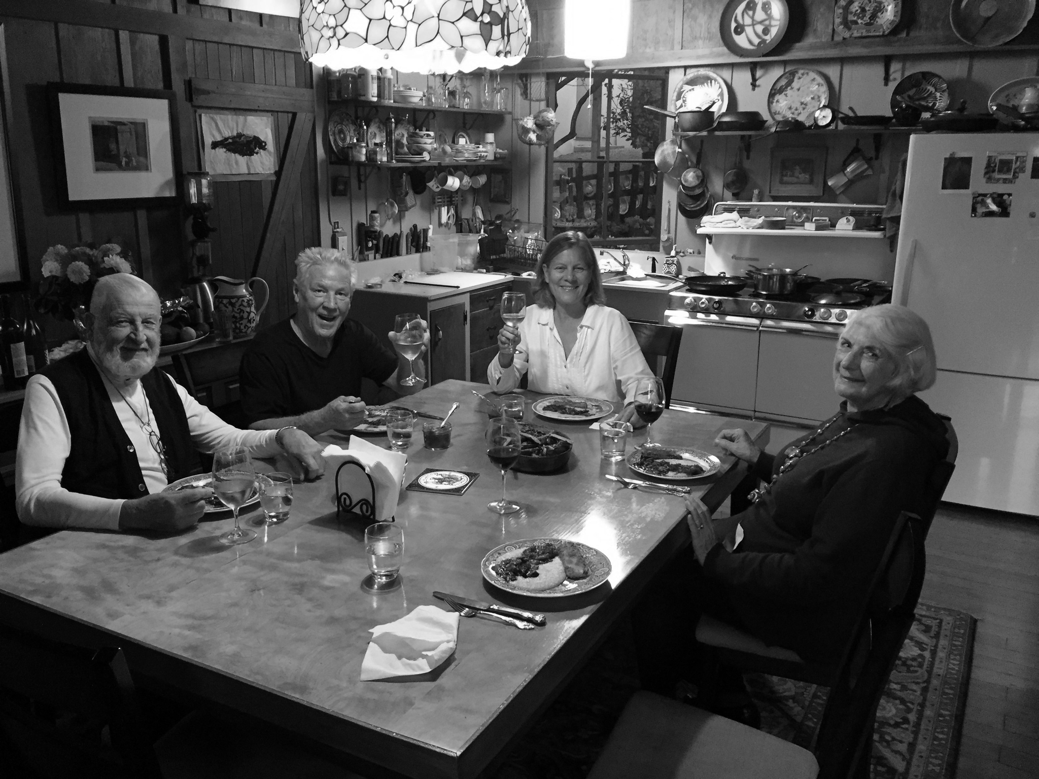 From Left: Michael Adams, Kim Weston, Gina Weston, and Gene Adams having dinner at Edward Weston's home on Wildcat Hill - 2017