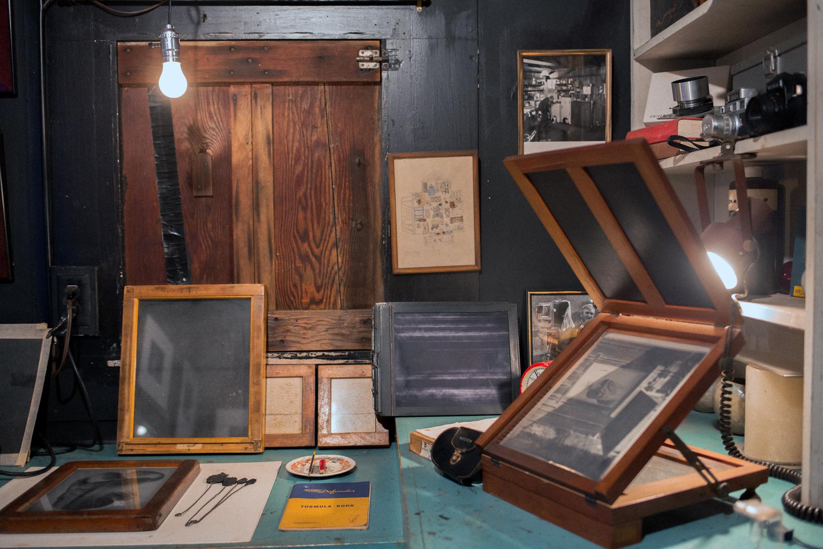 Darkroom instruction - In Kim Weston's darkroom on Wildcat Hill!
