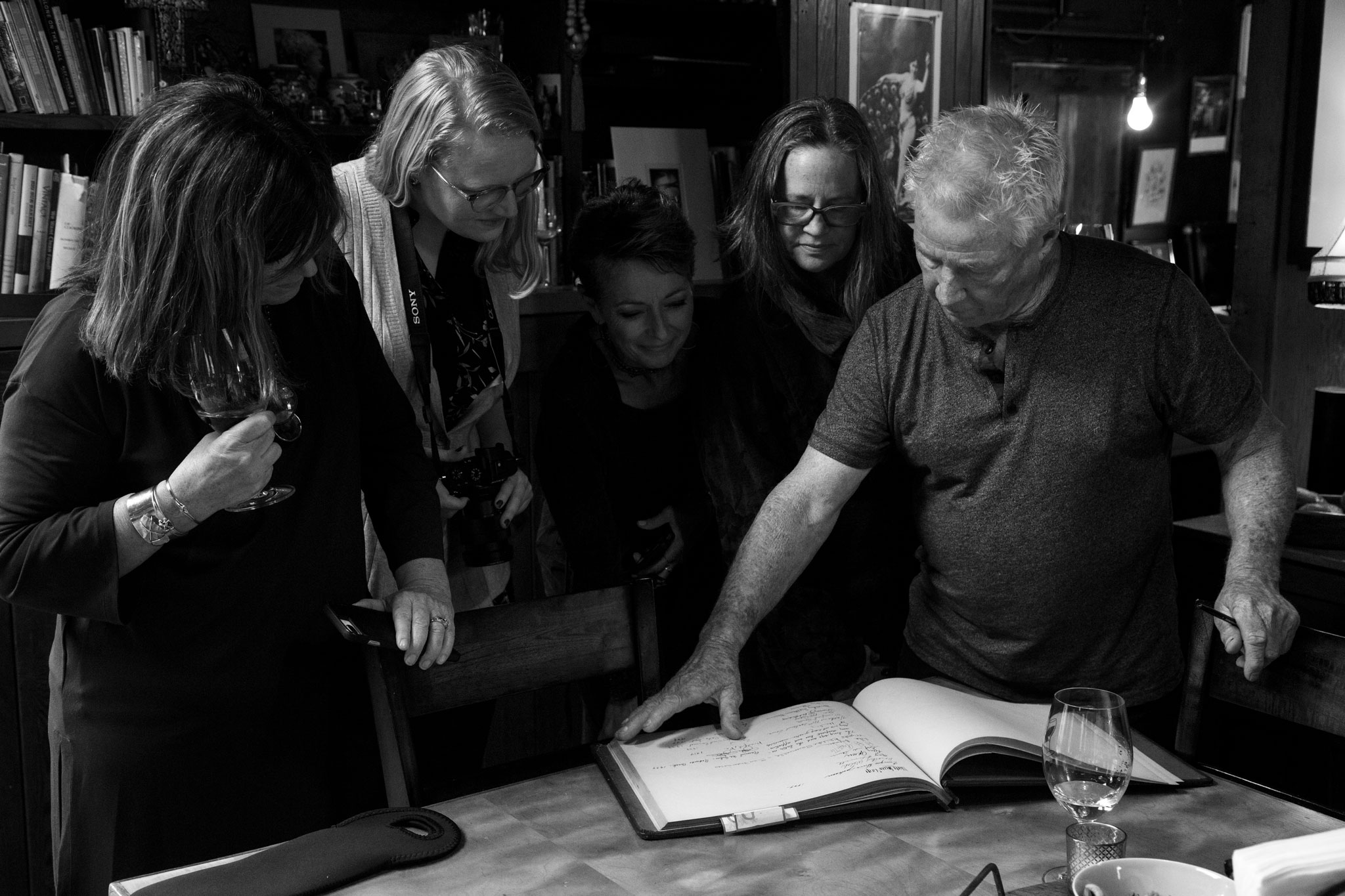 Anne Berry, Emma Powell, Lori Vrba (the exhibition's curator) and Heidi Kirkpatrick with Kim Weston
