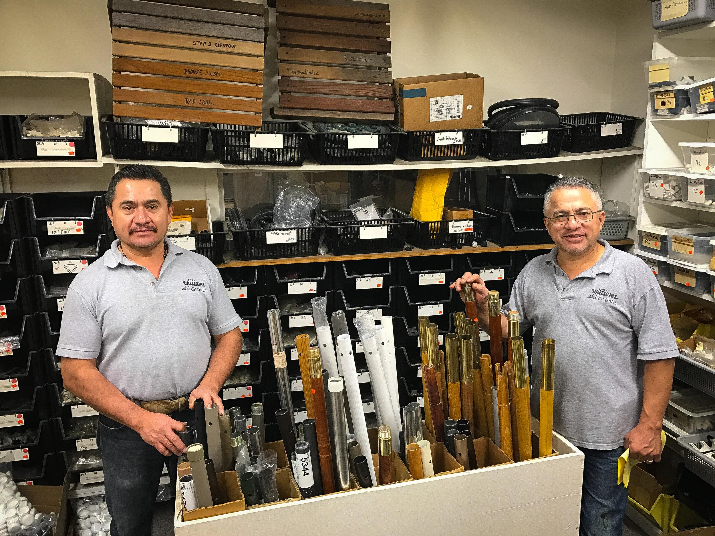 Patio furniture service team in Williams Ski and Patio parts department.