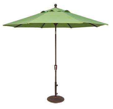 Close up of open green patio umbrella.