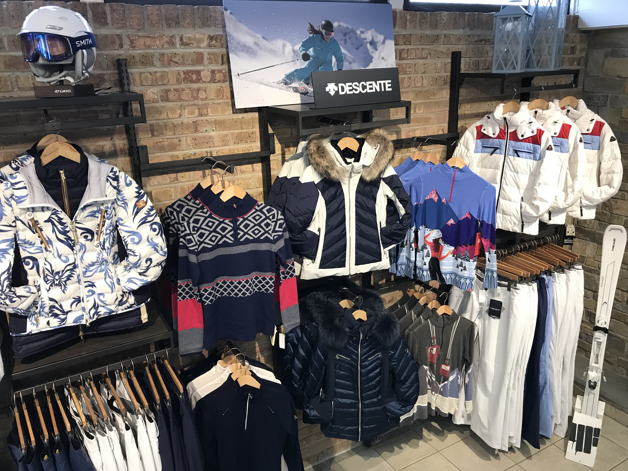 Inside the front of Williams Ski and Patio showroom displaying winter apparel.