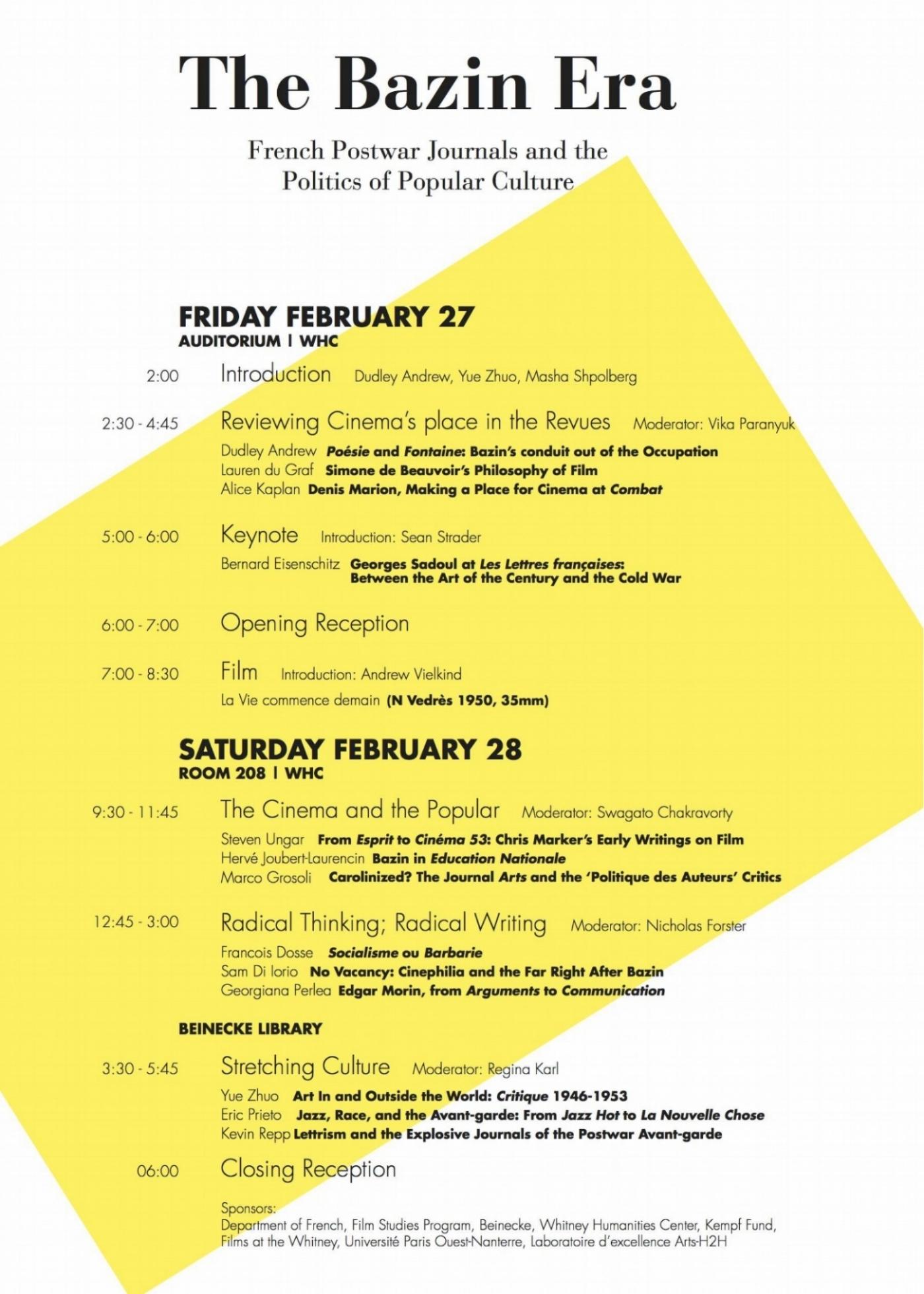 "Program from ""The Bazin Era"" conference at Yale University, February 2015."