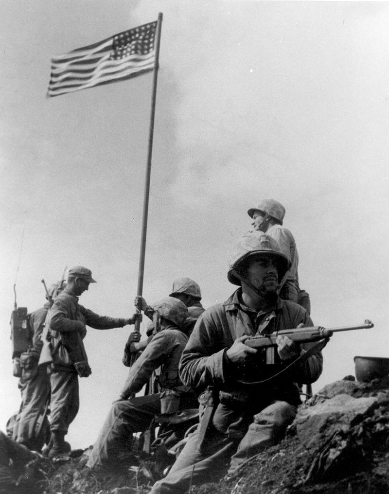 Raising the first flag on Iwo Jima
