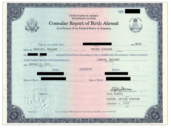 Report of Birth Abroad of a U.S. Citizen (FS-240)