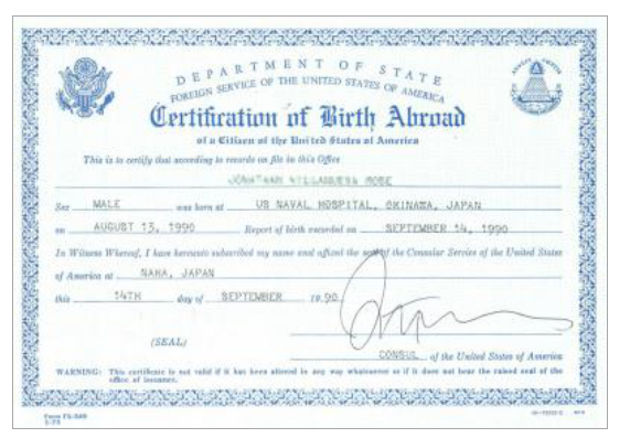 Certificate of Birth-Foreign Service (FS 545)