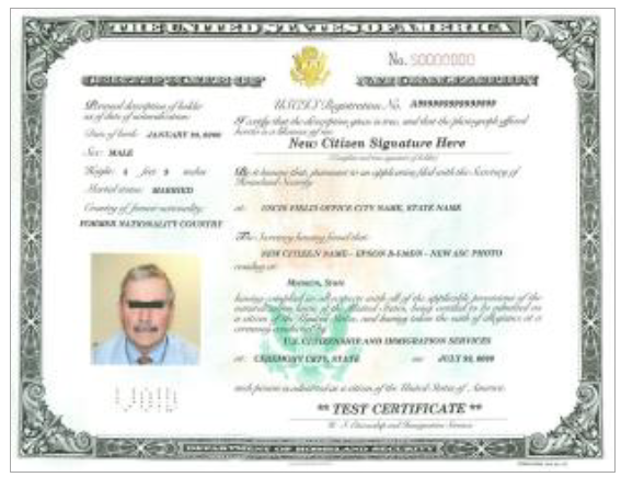 Certificate of Naturalization (N-550 or N570)