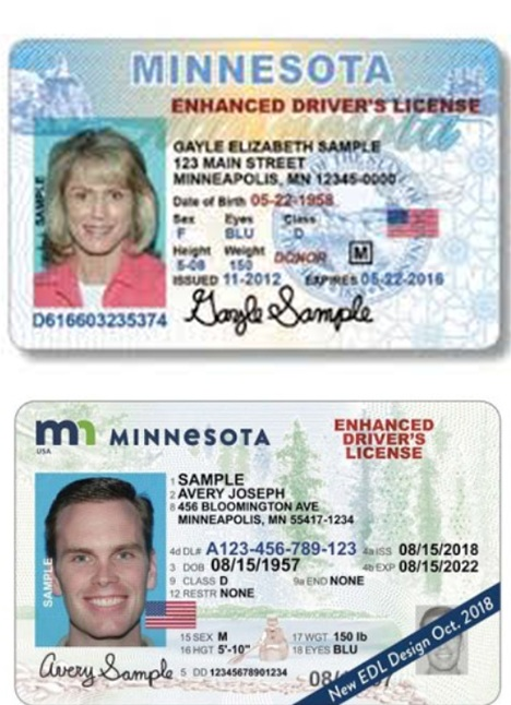 Enhanced Driver's License   Must be issued by the State of Minnesota.
