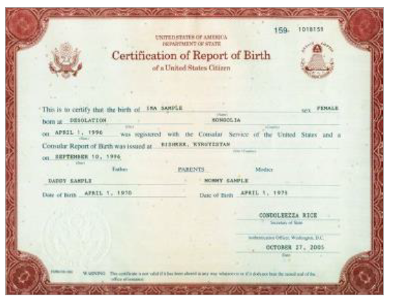 Certification of Report of Birth (DS-1350)