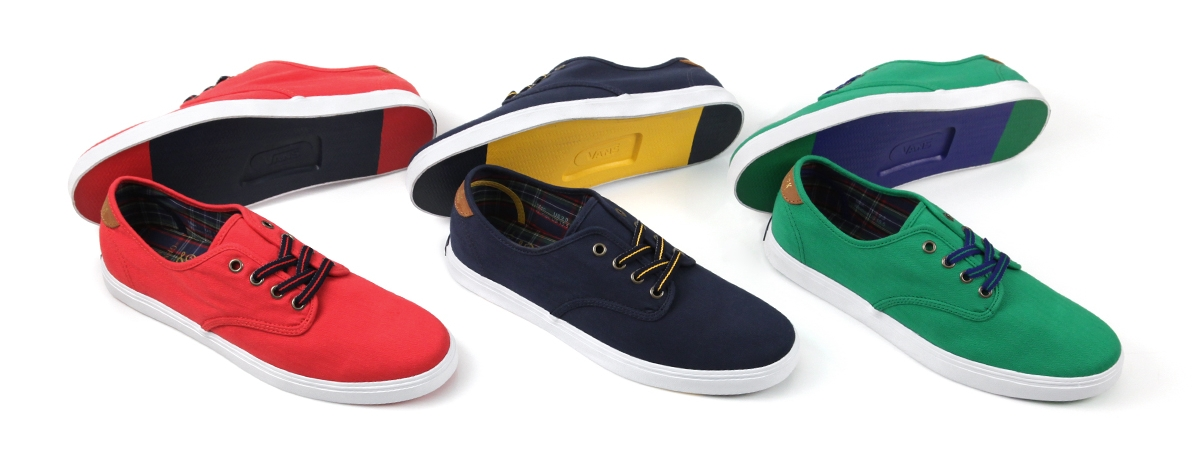 The Harrington Lo, a Vans Madero silhouette, is available in red, navy and green herringbone cotton canvas. The shoes feature a plaid cotton lining, color block siped sole and gold 'New York' print at the leather heel tab. The shoes come with custom striped and checked laces. The Vans DQM General logo is printed in gold foil on the insole.  Video filmed in New York by Marcus Manoogian and Vic Sorvino.