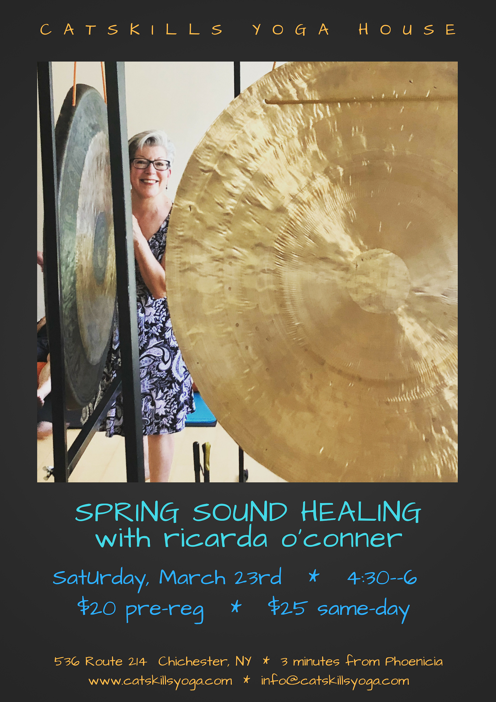 After a long winter, I invite you to renew, refresh, and revitalize your whole system and to welcome in what wants to bloom and expand within you. Healer, teacher, and musician Ricarda O'Conner will guide you on a deeply restoring journey of sound to reset and recalibrate your nervous system. A gong bath meditation restores the harmonic field of the body. The sound waves emanating from the gongs come in through your ears, but also move through your body, gently guiding you into deep relaxation. The gongs rebalance the body, mind and spirit, raising your vibration and returning you to your essential resonance.  For this event you will lie down on a yoga mat, close your eyes, and simply let the sound wash over you. Please bring a yoga mat and a pillow and/or a blanket and eye covering if you wish. The more comfortable your body can be, the more beneficial the experience. For more about Ricarda, please see  www.ricardaoconner.com.   Register by sending an inquiry to info@catskillsyoga.com or call 802-578-7869.  $20 exchange pre-registration or $25 same day
