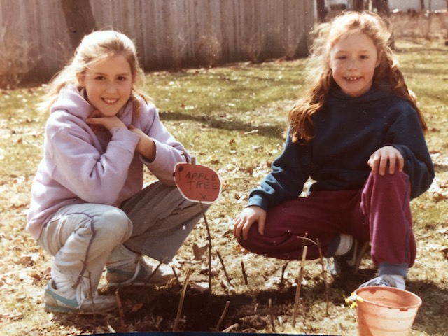 1984. My first planting attempt with my sister. That apple tree didn't do so well, but our best-friendship has remained steady and strong, bearing fruit in we ways never could have imagined then. Stay tuned for our second co-led yoga retreat the winter!