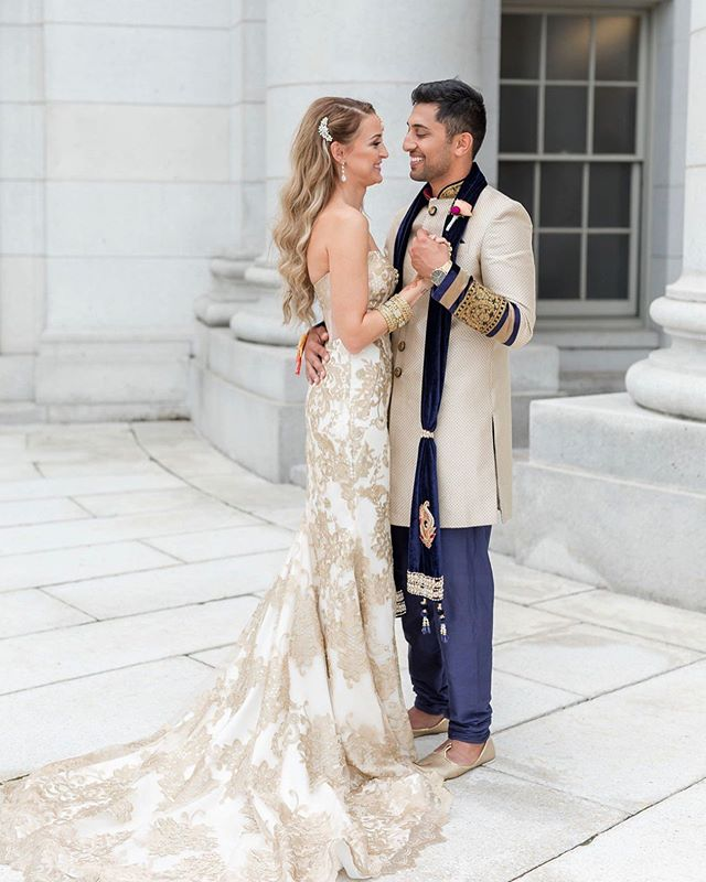 Bringing cultures together one #GWENDELYNgown at a time 🥰 Love this #KellyFaetanini bride in her gold wedding dress! 📸: @maisonmeredith