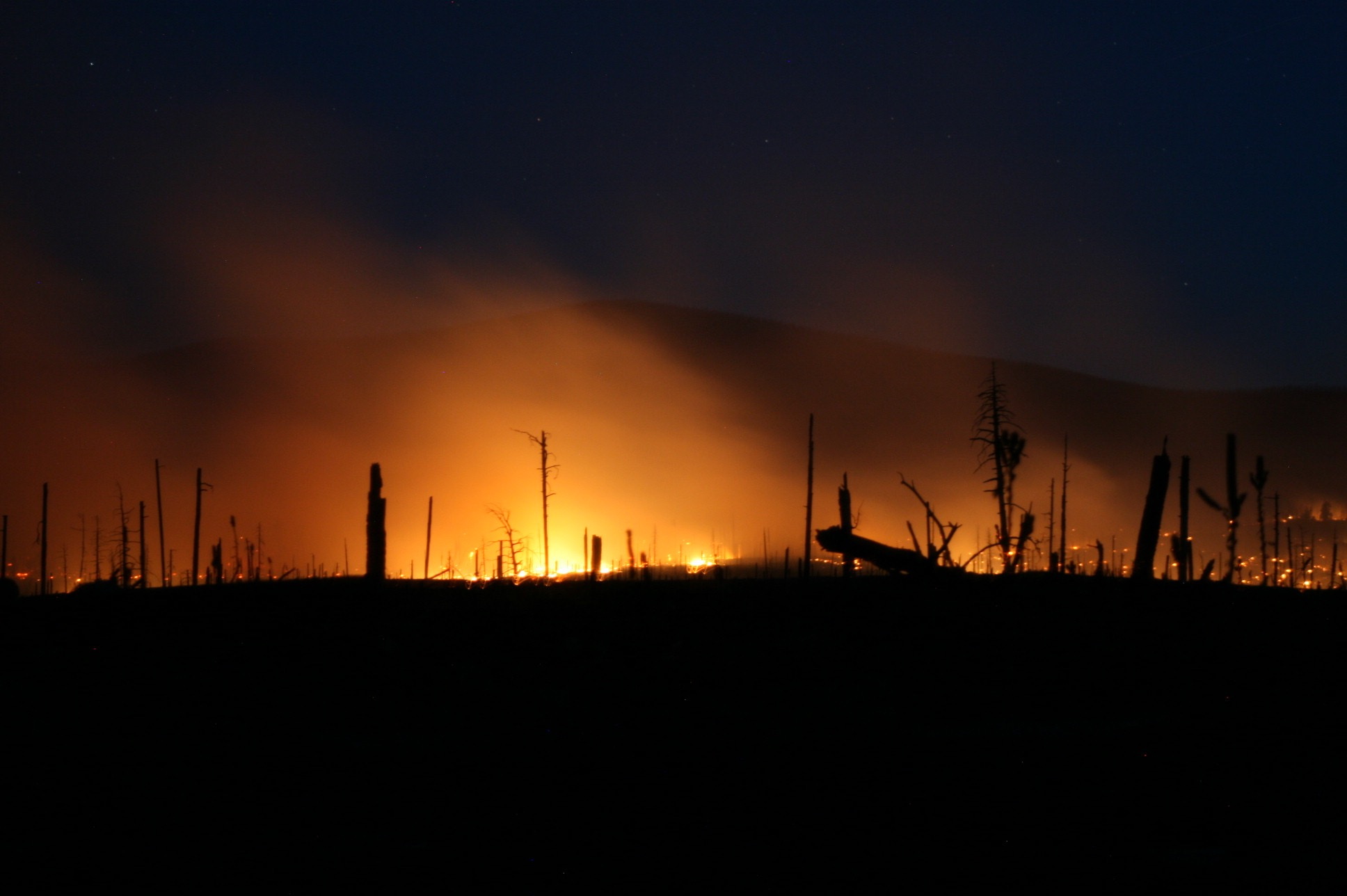 Fires raged as we made our way to the campground.