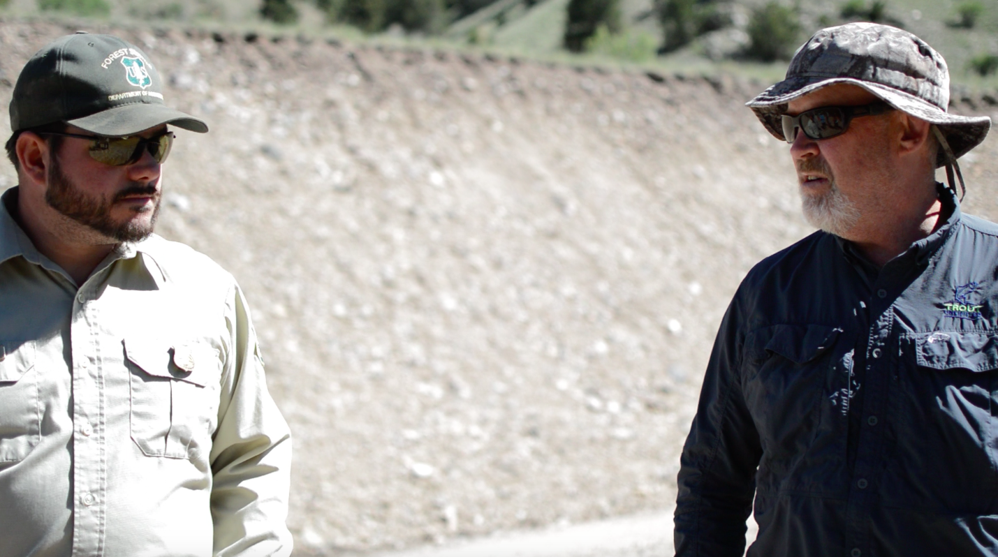 U.S. Forest Service Fisheries Biologist Michael Gatlin (Left) and Trout Unlimited Staffer Toner Mitchell (Right)