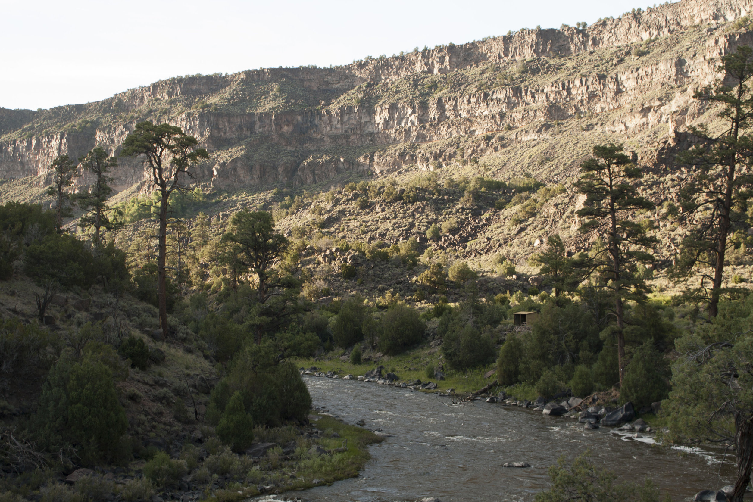 Looking down the steep canyon walls of the Rio Grande Gorge in Rio del Norte National Monument.