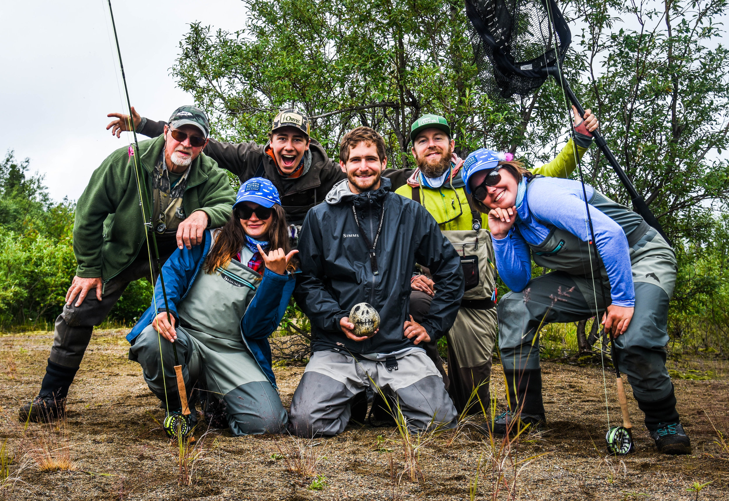 The 2018 5 Rivers Odyssey Crew (left to right):  (Back Row) Chuck Ash (Bristol Bay guide), Anthony Ortiz (CU-Boulder), Eric Booton (TU Alaska)  (Front Row) Kylie Hogan (Pitt-Johnstown), Libby Glaser (Missouri State)