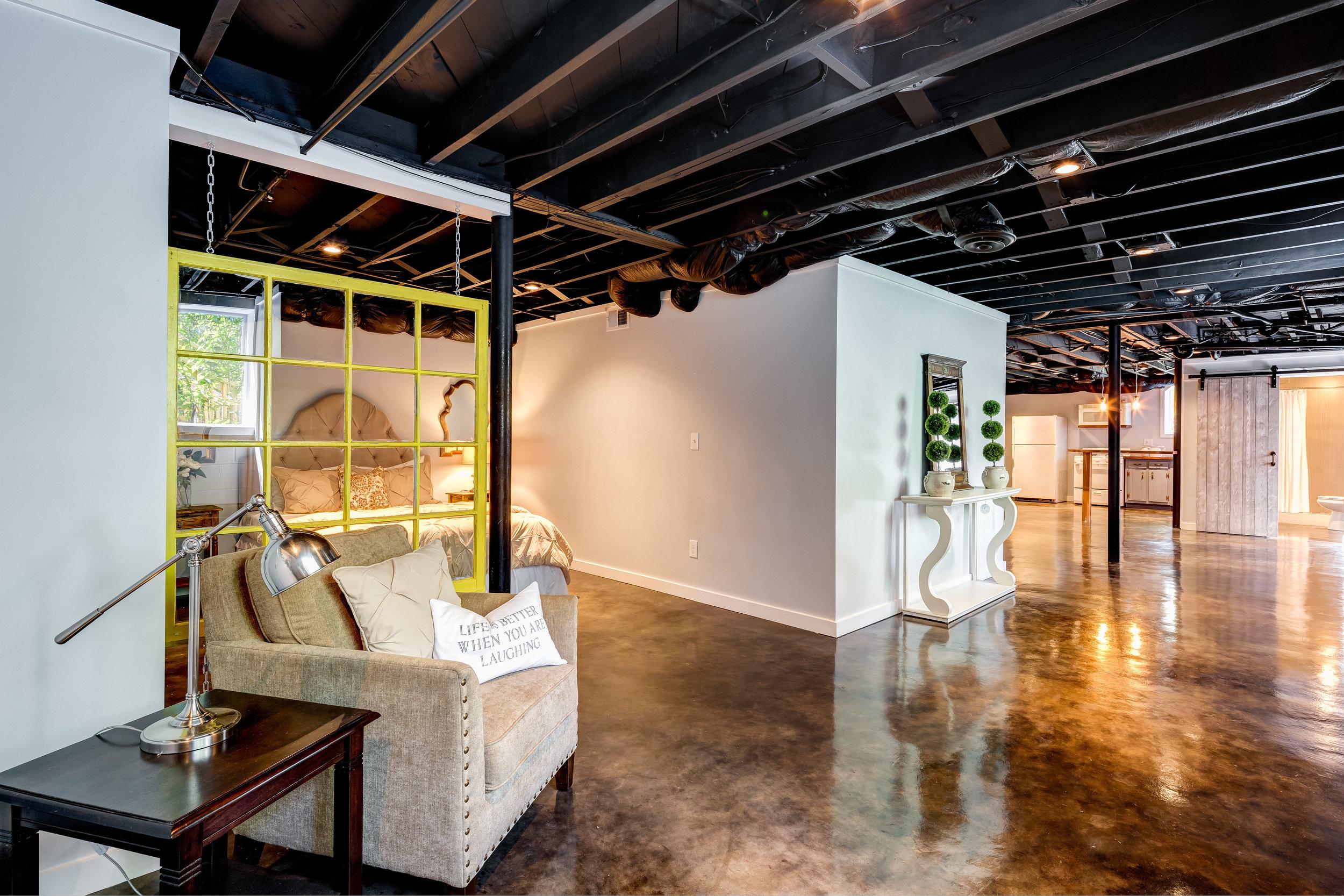 atlanta basement renovation marbled floor