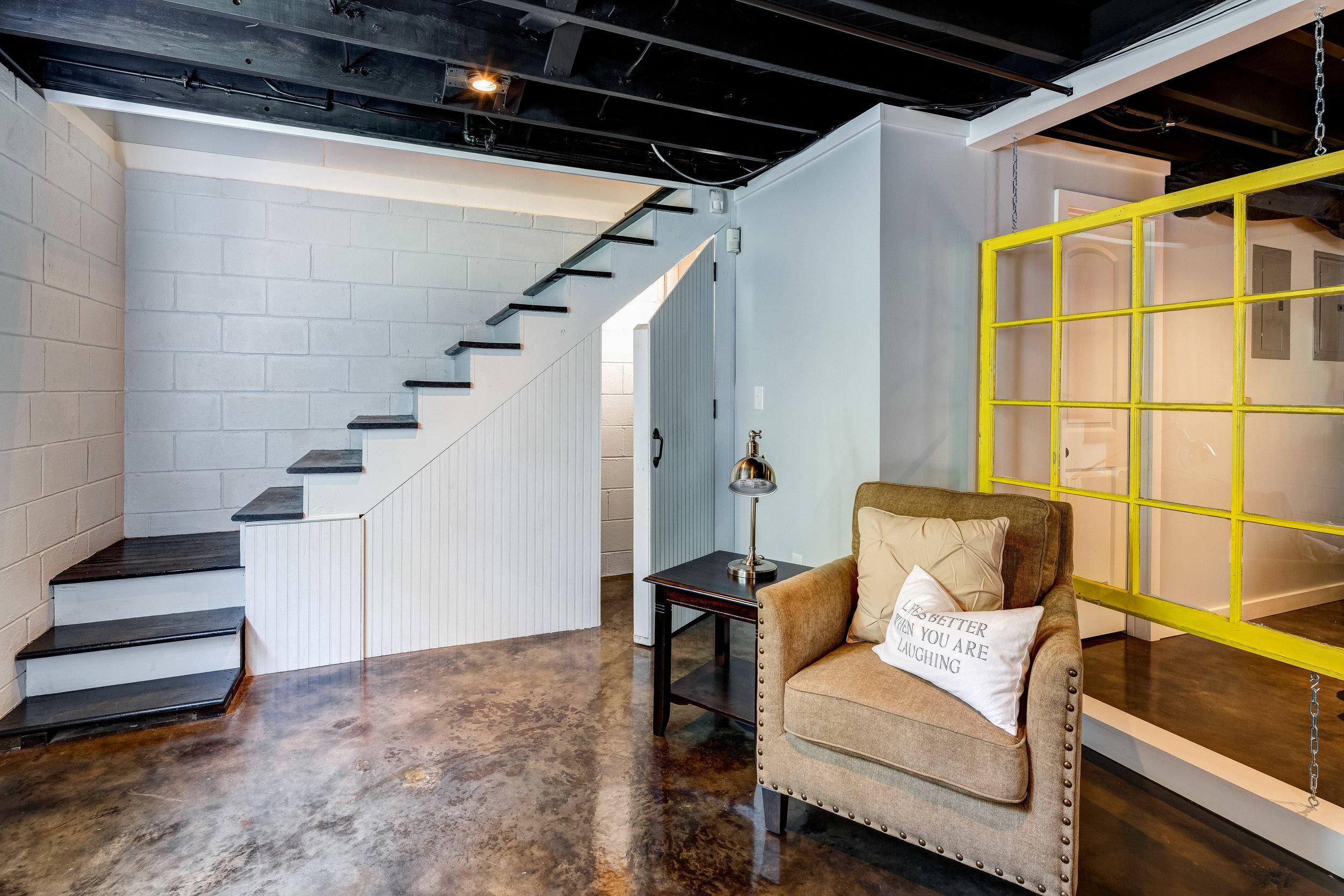 basement staircase hideaway renovation atlanta