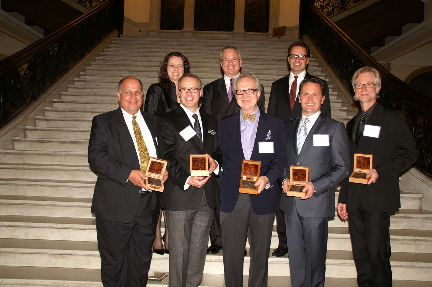 Bulfinch Award winners, front row, l. to r.: Bob Gryzwacz, Michael Carter, Jan Gleysteen, Greg Lombardi, Jeff Heyne