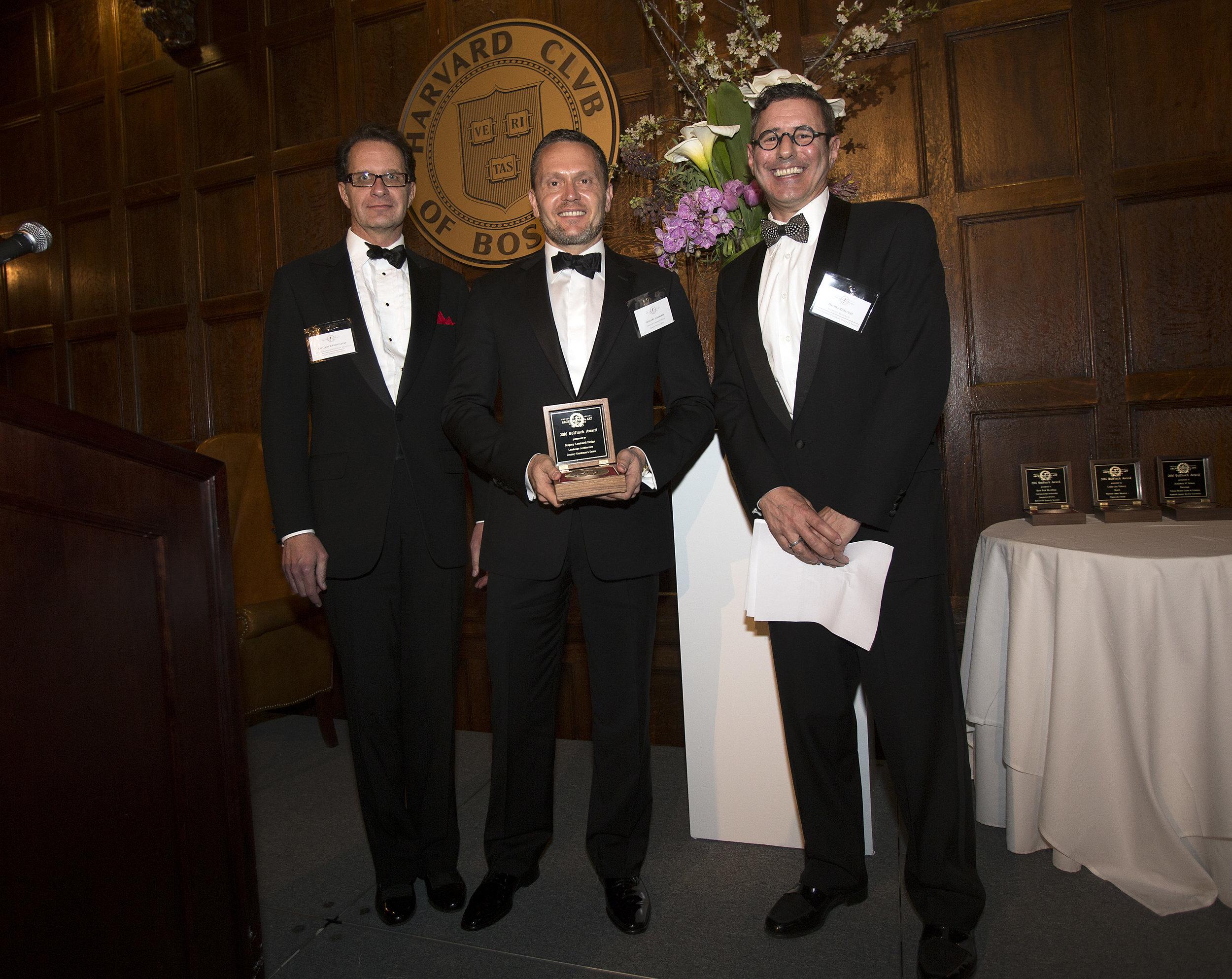 Chapter President and MC Sheldon Kostelecky, Bulfinch Award winner Greg Lombardi, Chapter VP and Bulfinch Awards chair David Andreozzi