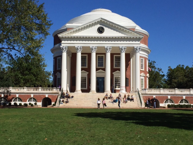 The newly restored Rotunda from the Lawn, the symbolic center of the University of Virginia