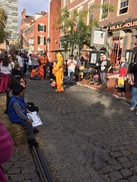 Tigers, skeletons and pirates at the Pumpkinfest costume parade (sadly POTUS was whisked away without granting the paparazzi a photo opp...)