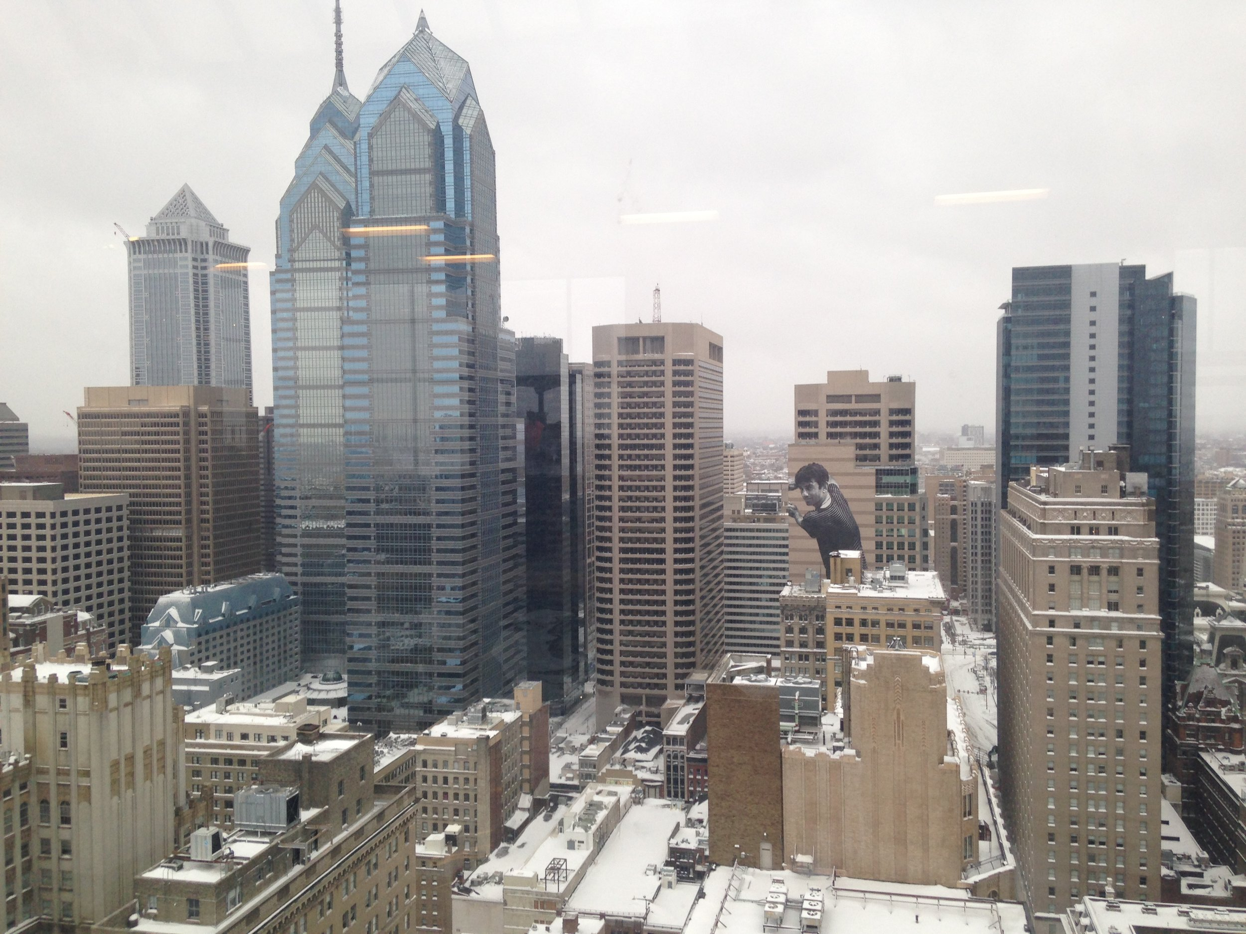 Fine snowy views of the city skyline from our residents' lounge