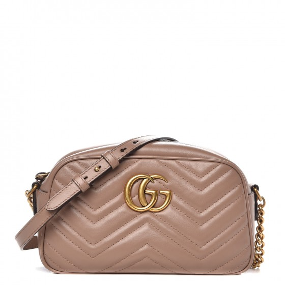 GUCCI Calfskin Matelasse Small GG Marmont Bag Dusty Pink