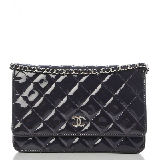 CHANEL Patent Quilted Wallet On Chain WOC Dark Purple