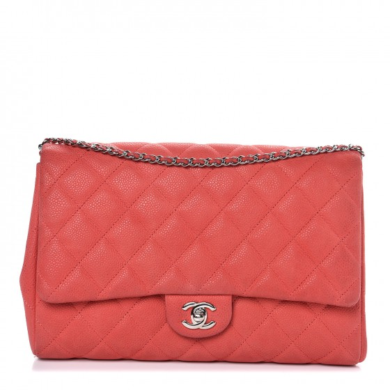 CHANEL Iridescent Caviar Clutch with Chain Flap Red