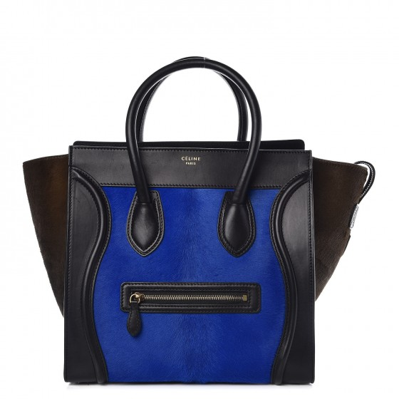 CELINE Pony Hair Tri-Color Mini Luggage Royal Blue