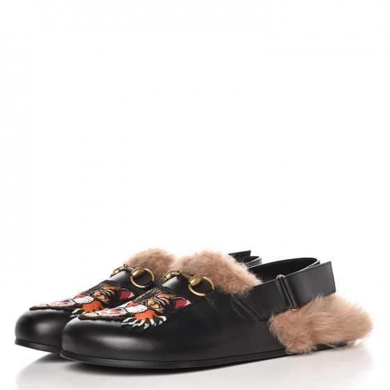 GUCCI Calfskin Fur Angry Cat River Slingback Slippers 7 Black