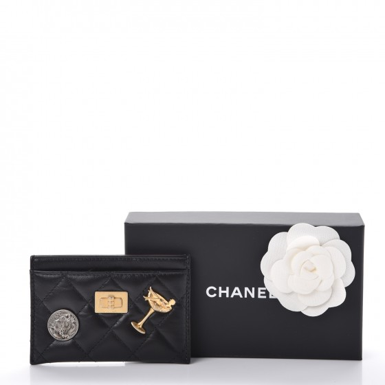 CHANEL Aged Calfskin Lucky Charms Reissue Card Holder Black