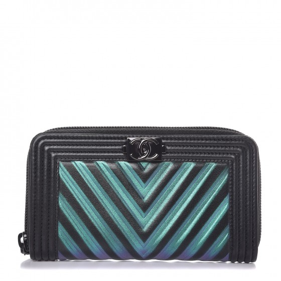 CHANEL Calfskin Painted Chevron Embossed Small Boy Zip Wallet Black